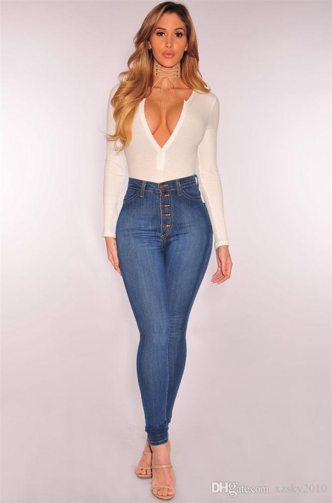 Jeans sexy para mujer Cintura alta Estiramiento delgado Pantalones pequeños de gran tamaño Jeans Moda femenina Pantalones E1129