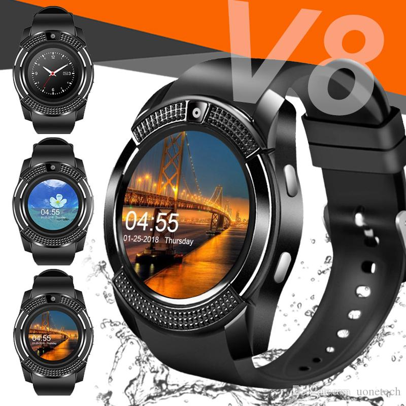 V8 Smart Watch Bluetooth Watches Android with 0 3M Camera MTK6261D  Smartwatch for apple android phone Micro Sim TF card with Retail Package