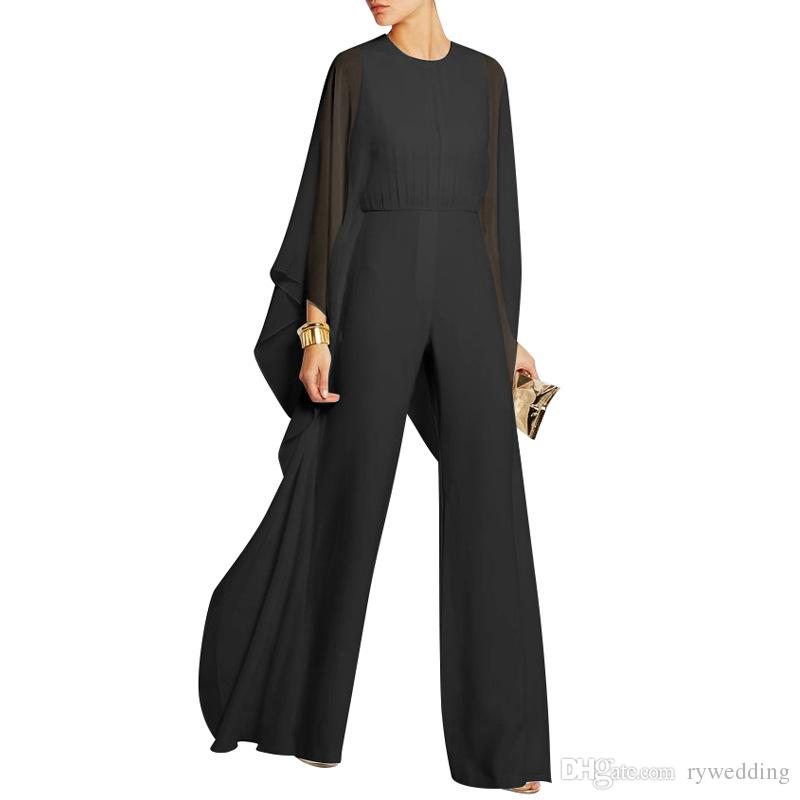 European and American chiffon Jumpsuit dress queen style Loose Pants white black red Special Occasion Dresses casual wear Party Dresses
