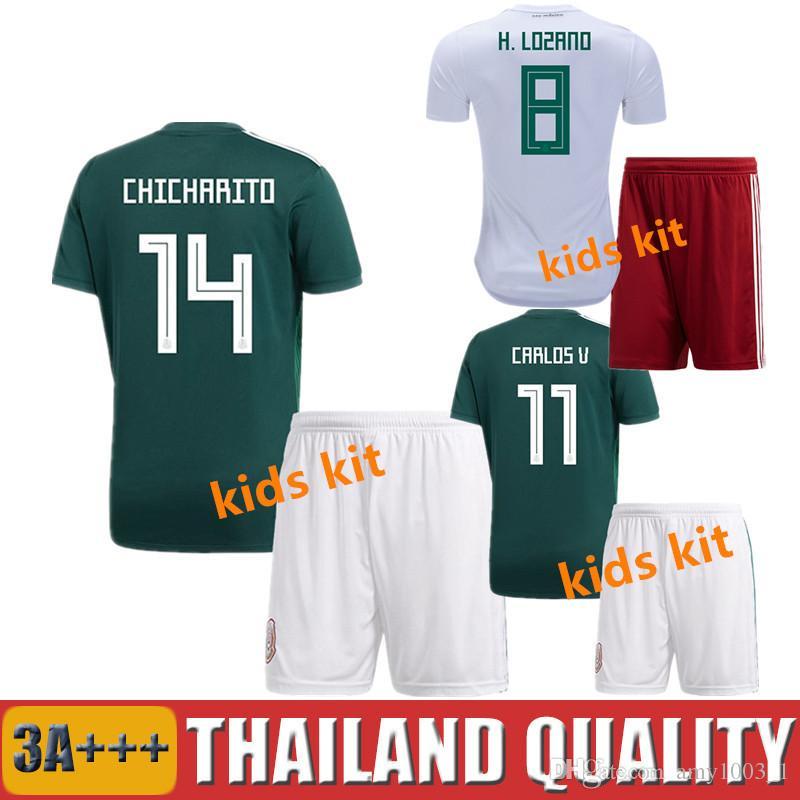 01b818b5e1a 2018 MEXICO KIDS Kit SOCCER JERSEYS World Cup CHICHARITO CHUCKY ...