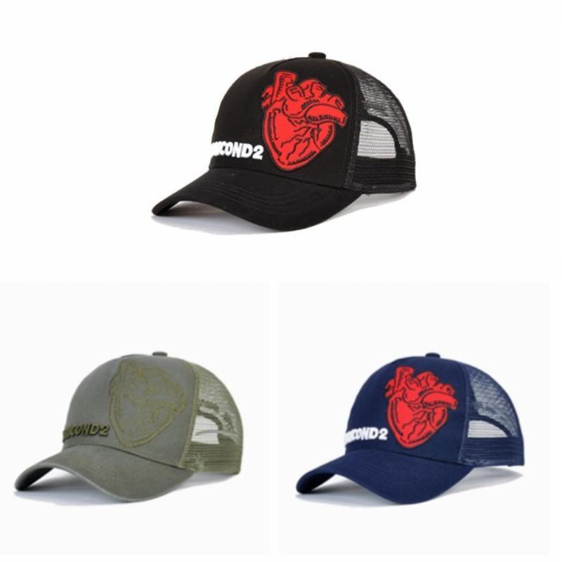 503b36147ce0b DSQICOND2 Mesh Caps Heart Pattern Popular Baseball Cap Women Men High  Quality Curved Brim Sport Ball Hat Brand Designer Mesh Sun Hat Dad Cap Caps  Online ...