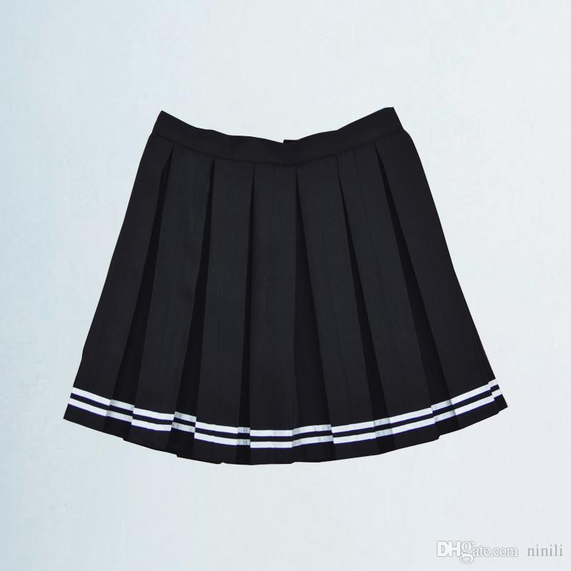 096397ea04e 2019 New Casual All Match Students High Waist Solid Color Cute Pleated Skirt  For Women Large Size XS 4XL From Ninili