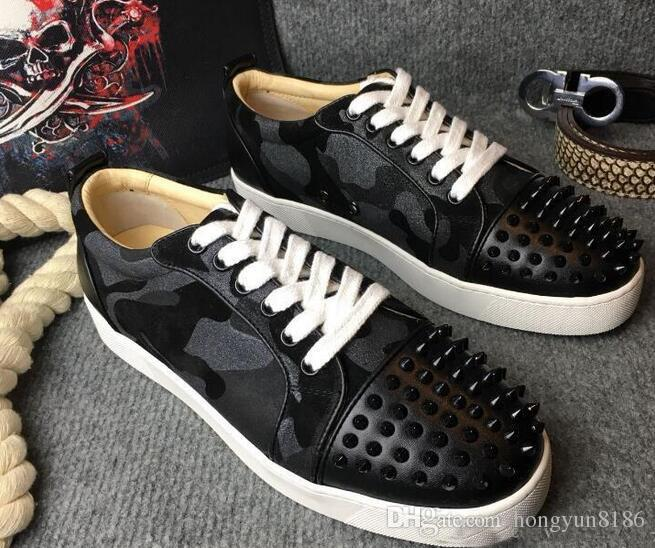 5b6f65ba595 Red Bottom Black Camouflage Leather Black Studded Toe Low Top ...