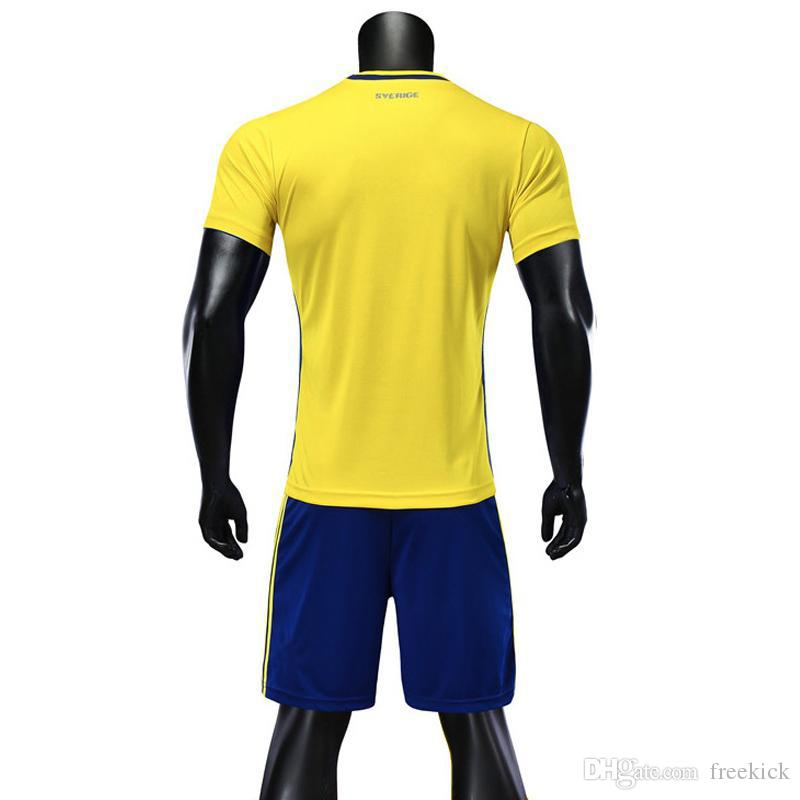 55b82d86d 2019 DHL 2018 World Cup Jersey Sweden Home Yellow Ibrahimovic Complete Kit  Include Shirt And Short And Socks 7 From Freekick