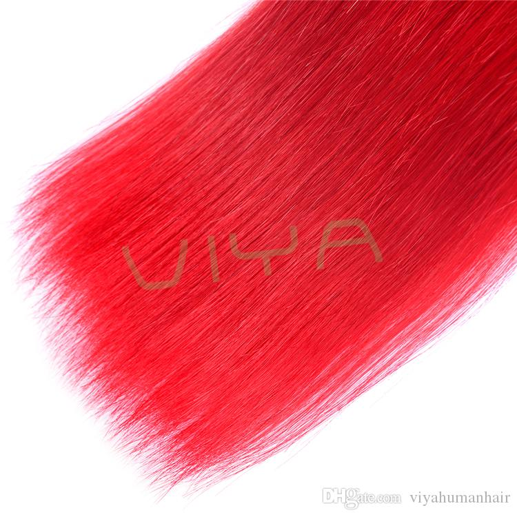 Red Colour Brazilian Top Quality Remy Human Hair Extension Straight Human Hair 3 Bundles Double Weft