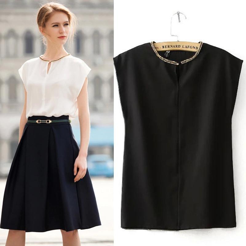 7d69e57e63fa1 Camisa de blusa de gasa blanca de verano 2018 Camisa de blusa negra Camisa  de cuello alta de trabajo de mujer Desgaste de trabajo sin mangas Top sólido  sin ...