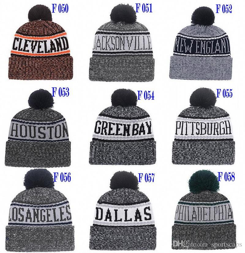 New Beanies Football Beanies 2018 Sideline Winter Sport Knit Hat Pom Pom Hats Hot 32 Team Color Knits Mix Match Order All Caps