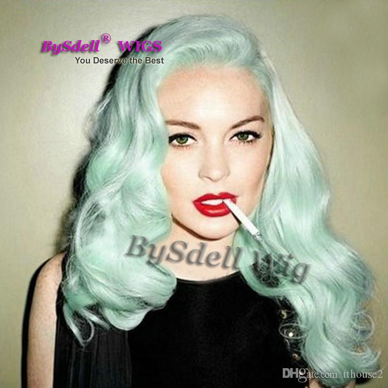 Lindsay Lohans Pastel Hair Soft Curl Fashion Mint Green Heat