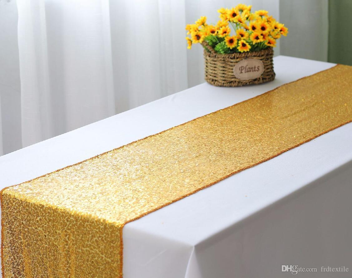 Wed Table Runner Festival Event For Party In Gold Silver Sequined Navy Blue Lace From Frdtextile