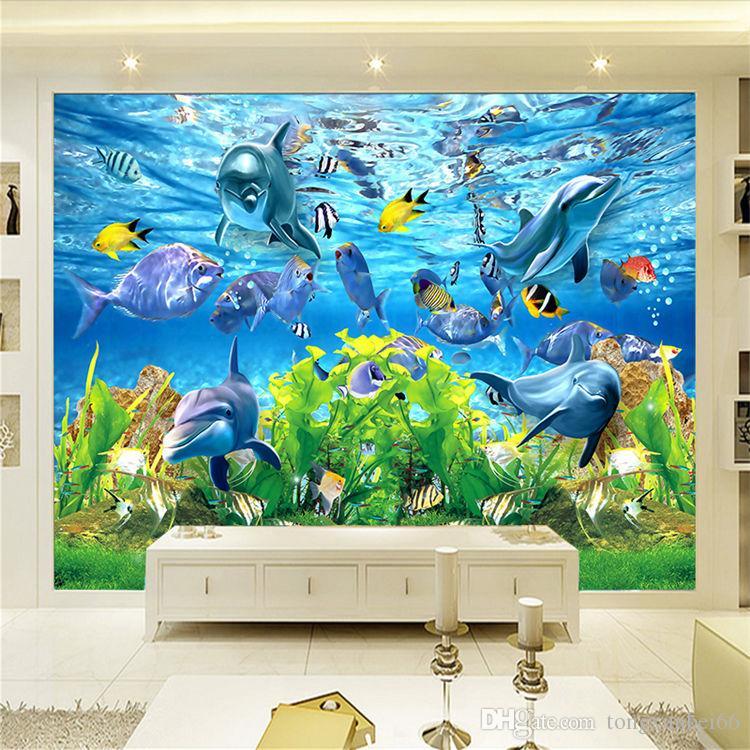 3D custom wallpaper underwater world marine fish mural children room TV backdrop aquarium wallpaper mural