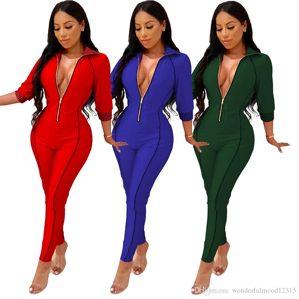cd0b6f362048 2019 Front Zipper Sexy Deep V Neck Jumpsuit Women Three Quarter Sleeve  Bodycon Catsuit Autumn Plus Size Casual Solid Bodysuit From  Wonderfulmood12315, ...