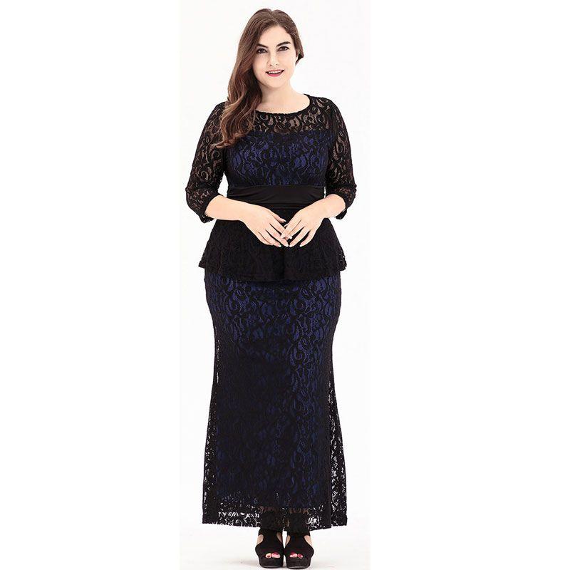 Big Size 6XL 2018 Summer Woman Lace Dress Loose Elegant Sexy Long ... 8aea16681d21