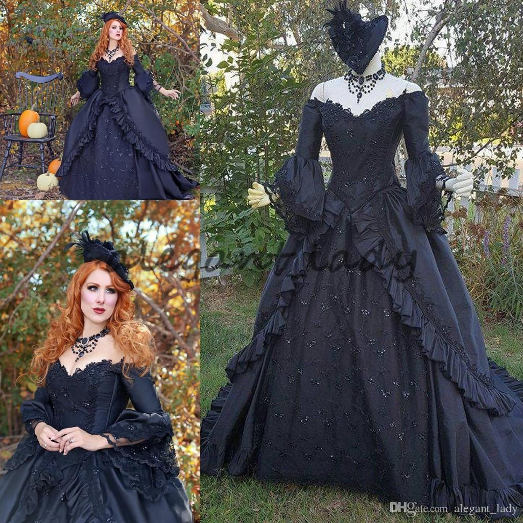 Popular Plus Size Gothic Wedding Gowns Buy Cheap Plus Size: Discount Black Sparkle Marie Antoinette Victorian Gothic