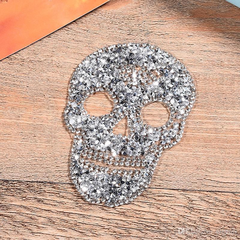 الإصلاح بقع حجر الراين الجمجمة الزخارف الحديد على بقع الكريستال appllique ستراس لديي الملابس الديكور