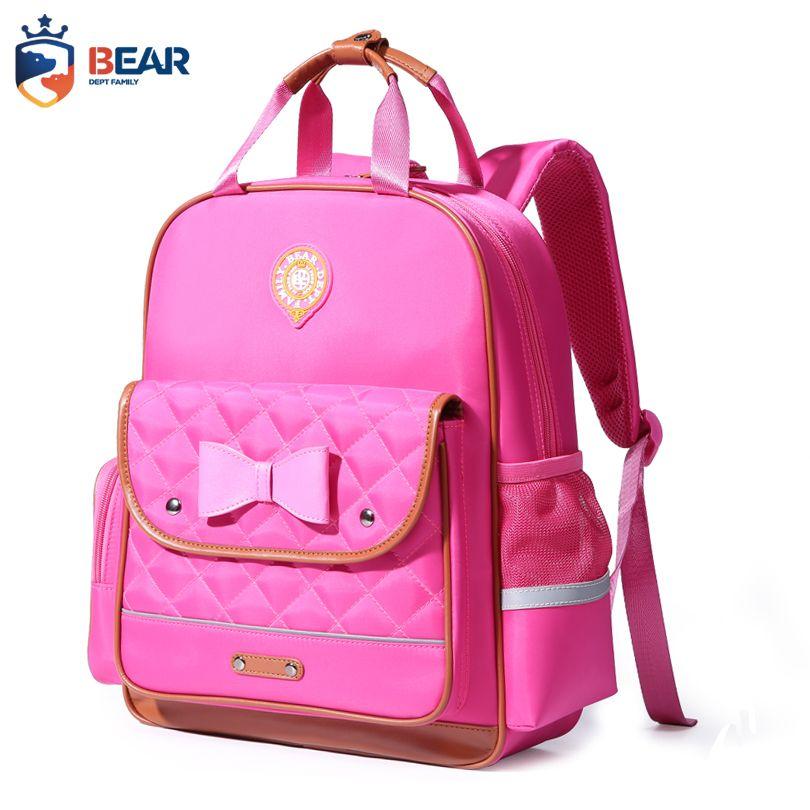 BEAR DEPT FAMILY Brand Kids School Backpacks Bowknot Cute Girls Bags ... 9d244bb961dc7
