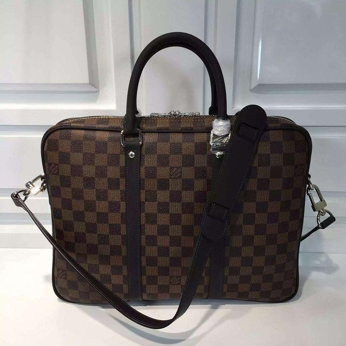 vvtisks8 Small briefcase Damier Ebene check canvas men bag N41466 TOP OXIDIZED REAL LEATHER ICONIC BAGS SHOULDER BAG TOTES CROSS BODY