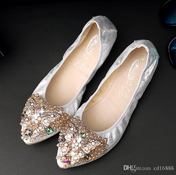 Soft comfortable Egg roll shoes woman Luxurious Rhinestone shoes fashion casual shoes 2018 new shallow mouth non slip women falts plus size