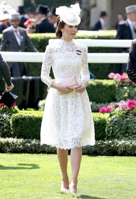 Sexy Volle Spitze Mutter der Braut Kleid Mit Langen Ärmeln Kate Middleton Formale Kleider High Neck Knielangen Mütter Kleider