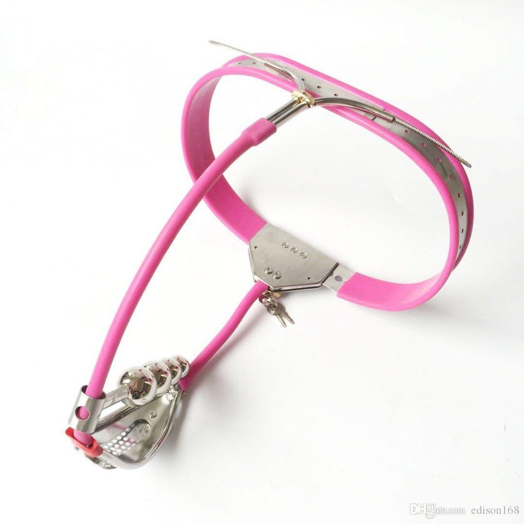 Último diseño de diseño de correa de castidad de acero inoxidable ajustable completo femenino con agujero de defecato ANUS Anal Plug Bondage adulto BDSM Juguete sexual
