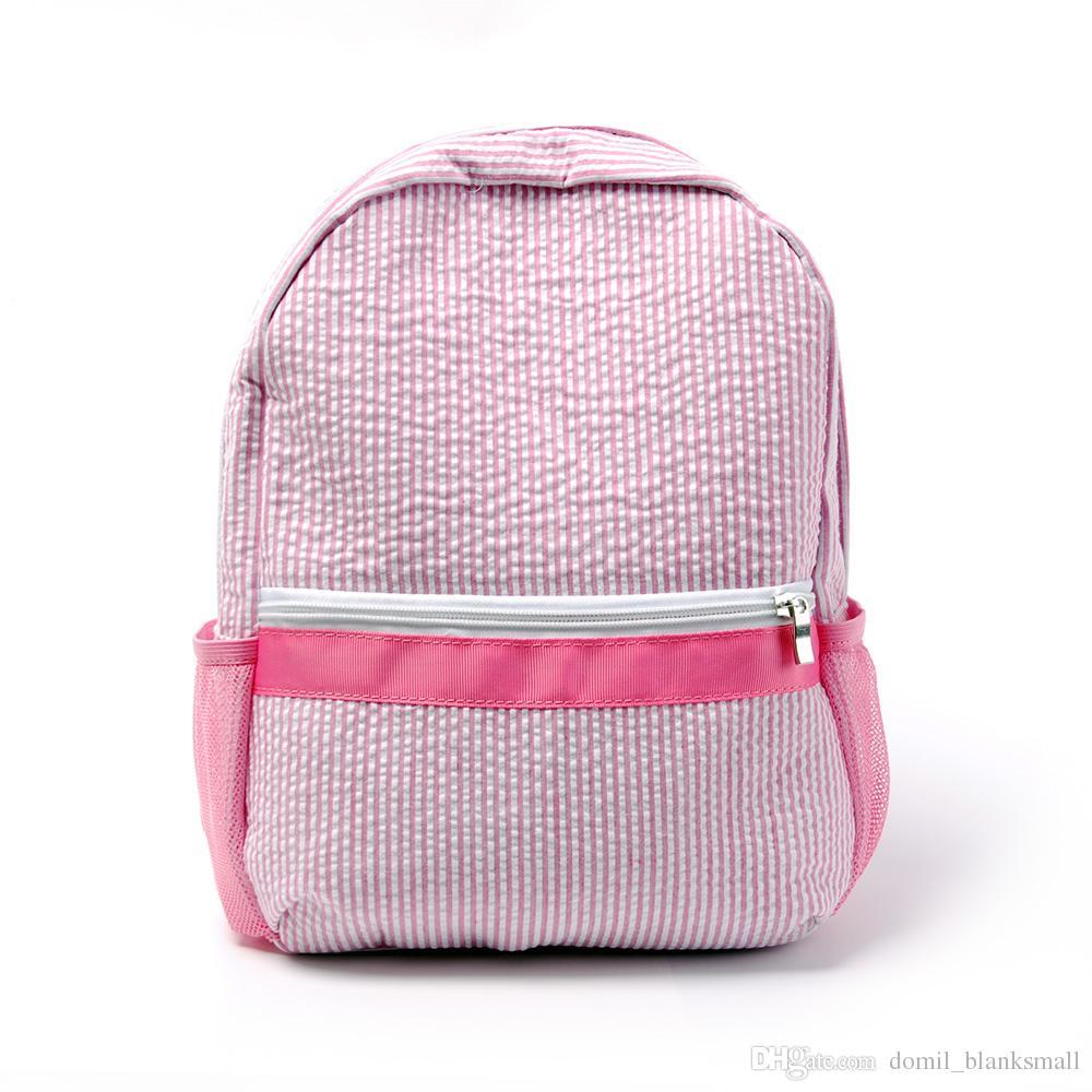 New Design Seersucker Backpack Kid School Bag In Two Colors