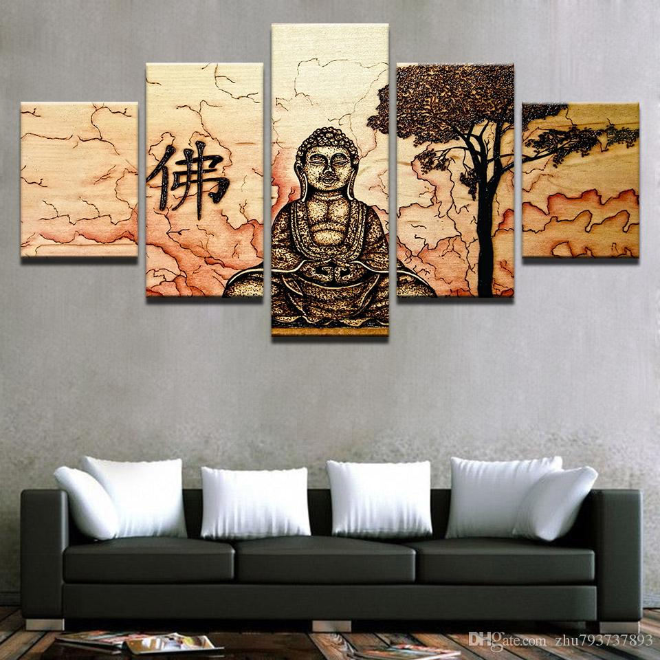 Home Decor Wall Art Canvas Posters Framework 5 Pieces Buddha Zen Vintage Pictures HD Prints Abstract Tree Paintings Living Room