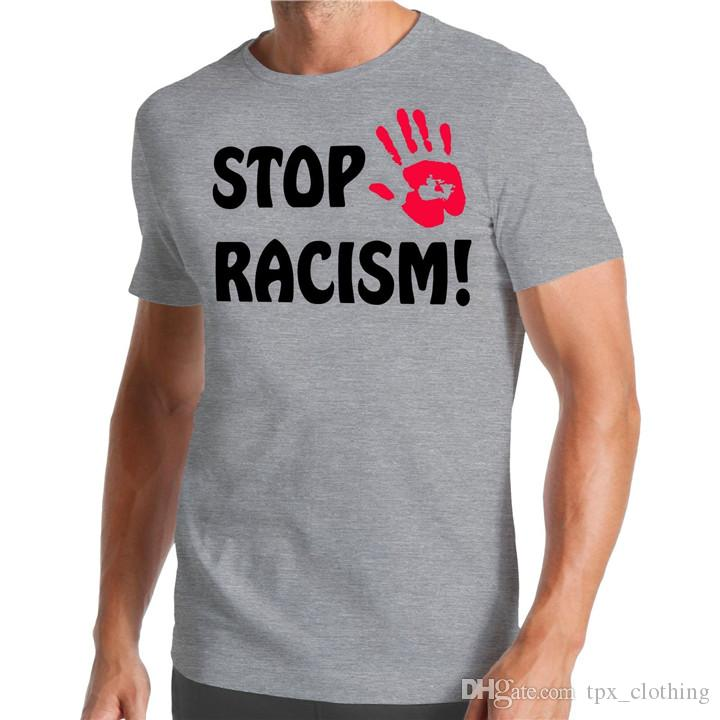 Stop Racism t shirt Hand cool words short sleeve gown Street leisure tees  Unisex clothing Pure color cotton Tshirt