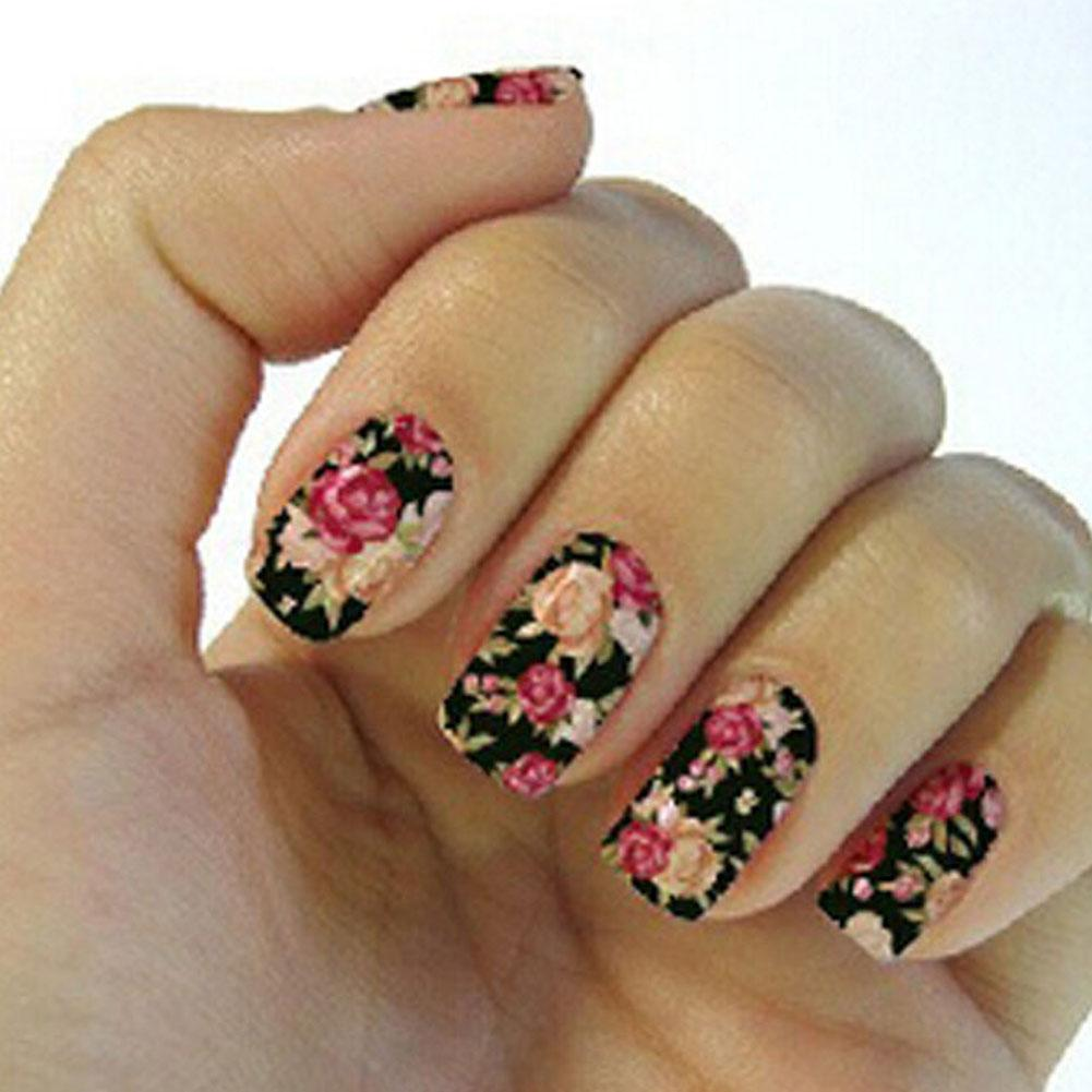 New Water Transfer Nails Art Sticker Pink Red Rose Flowers Design