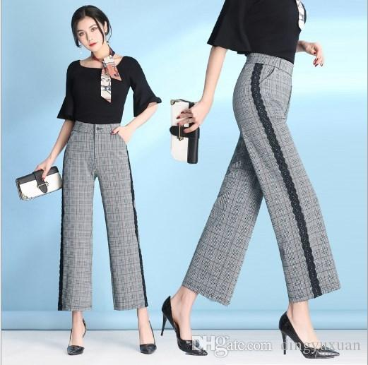 Lace Piping Trousers Women Wide Leg Pants Formal Dress Clothing Work