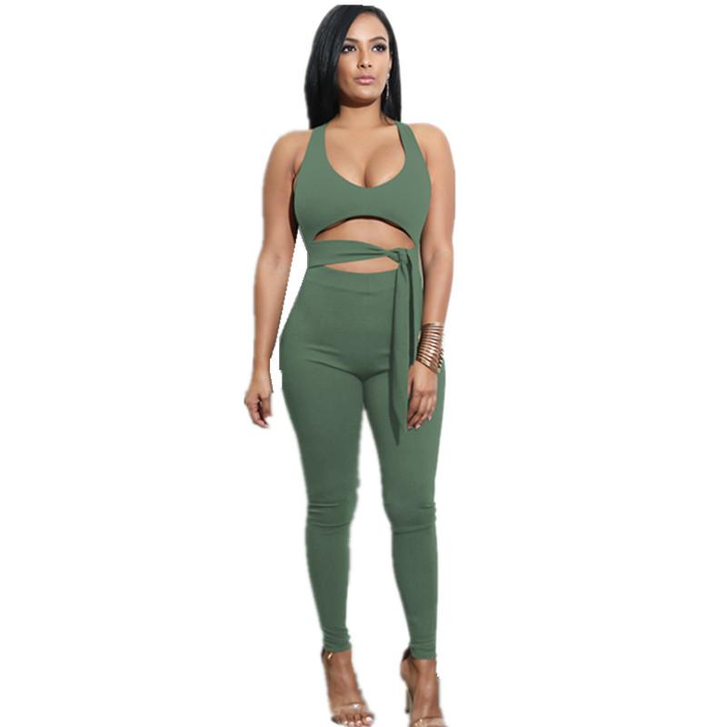 97274da1793d 2018 Sexy Waist Hollow Out Lace Up Jumpsuit Women Solid Casual Sleeveless  Skinny Jumpsuits Fashion Zipper Back Sling Overalls From Cute08