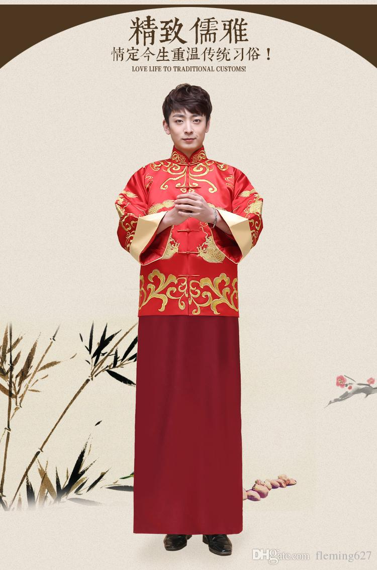 China Traditional show Chinese style bride groom wedding gown robe Unique clothing male pratensis dragon gown tang suit costume embroidered