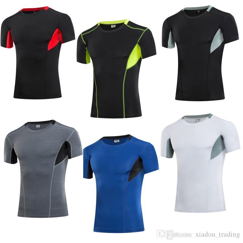2d77d5e8382c5 Compre Hombres GYM Sport Running Camisetas Quick Tight Fitting Dry Manga  Corta Hombre Culturismo Training Tops Medias Sport Shirt Jogging A  10.73  Del ...
