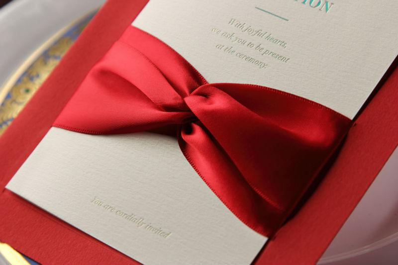 Red Classic Giant Bow Wedding Invitations, Customized Printing Business Party Invitations with Envelope Wedding Favors