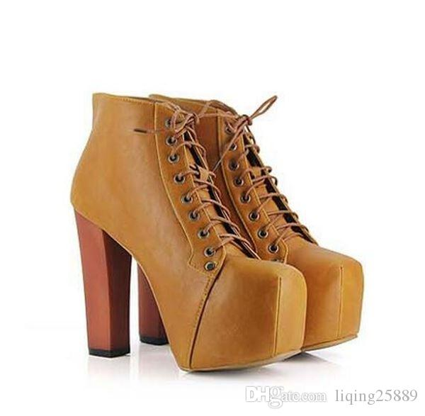 Solid wood with waterproof platform female boots square cross straps tie with high with Martin boots