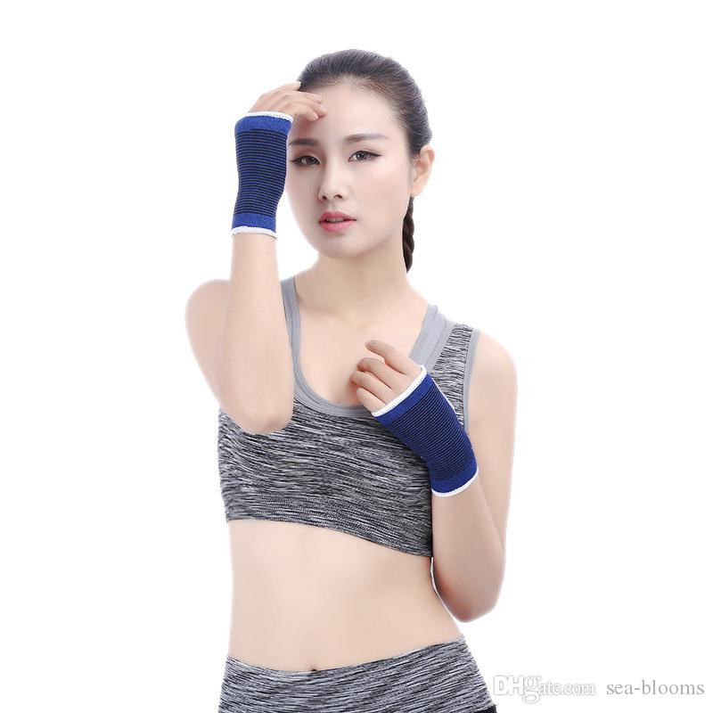 Hot Sale Wristband Thumb Hole Gym Training Weightlifting Hand Bar Wrist Support Polyester Cotton Gloves Support FBA Drop Shipping G911Q