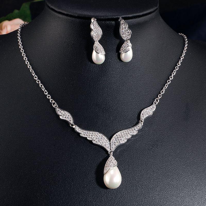 Luxury Bridal Jewelry Sets For Women Sparkling AAA Teardrop Zircon ... 303f47ad0be3