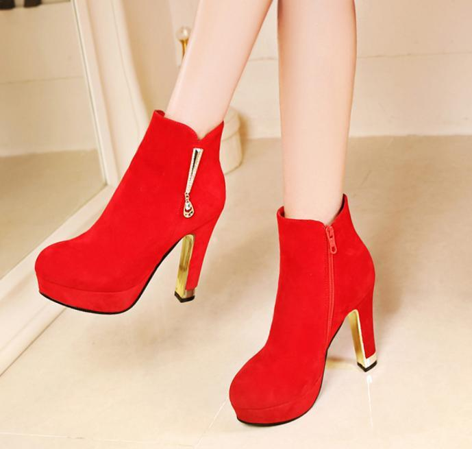 Red Wedding Shoes Ankle Boots Women Platform High Heels Synthetic Suede Big Small Size 33 34 to 40 41 42
