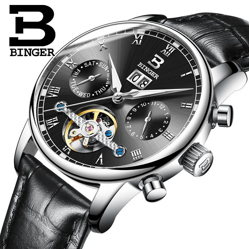 c204a9318b6c Compre Suiza BINGER Reloj De Caballero Marca De Lujo Tourbillon Fulll Acero  Inoxidable Resistente Al Agua Relojes De Pulsera Mecánicos B 8604 4 A   267.82 ...
