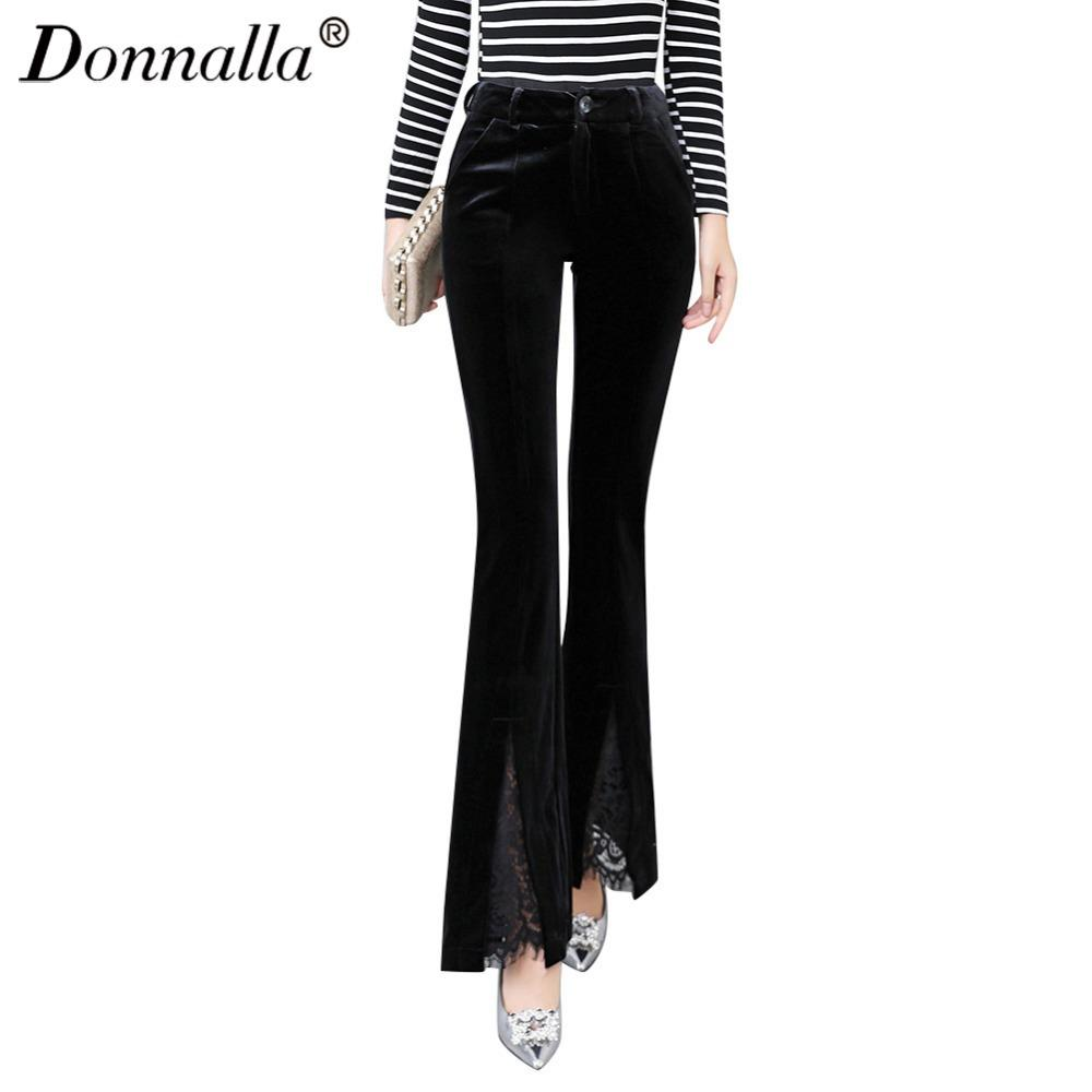 Donnalla Casual Flare Pants High Waist Fall Fashion Elastic Slim Velvet  Pants Women 2017 Split Formal Slim Womens Trousers UK 2019 From Beasy114 981c19c69