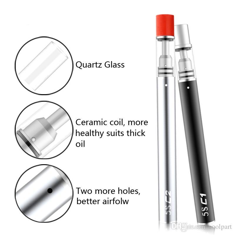 Il più nuovo monouso penna sigaretta vaporizzatore vape 5S c1 c2 olio denso galss atomizzatore. 3 ml. 5 ml cartuccia di olio estratto penna con nucleo in ceramica