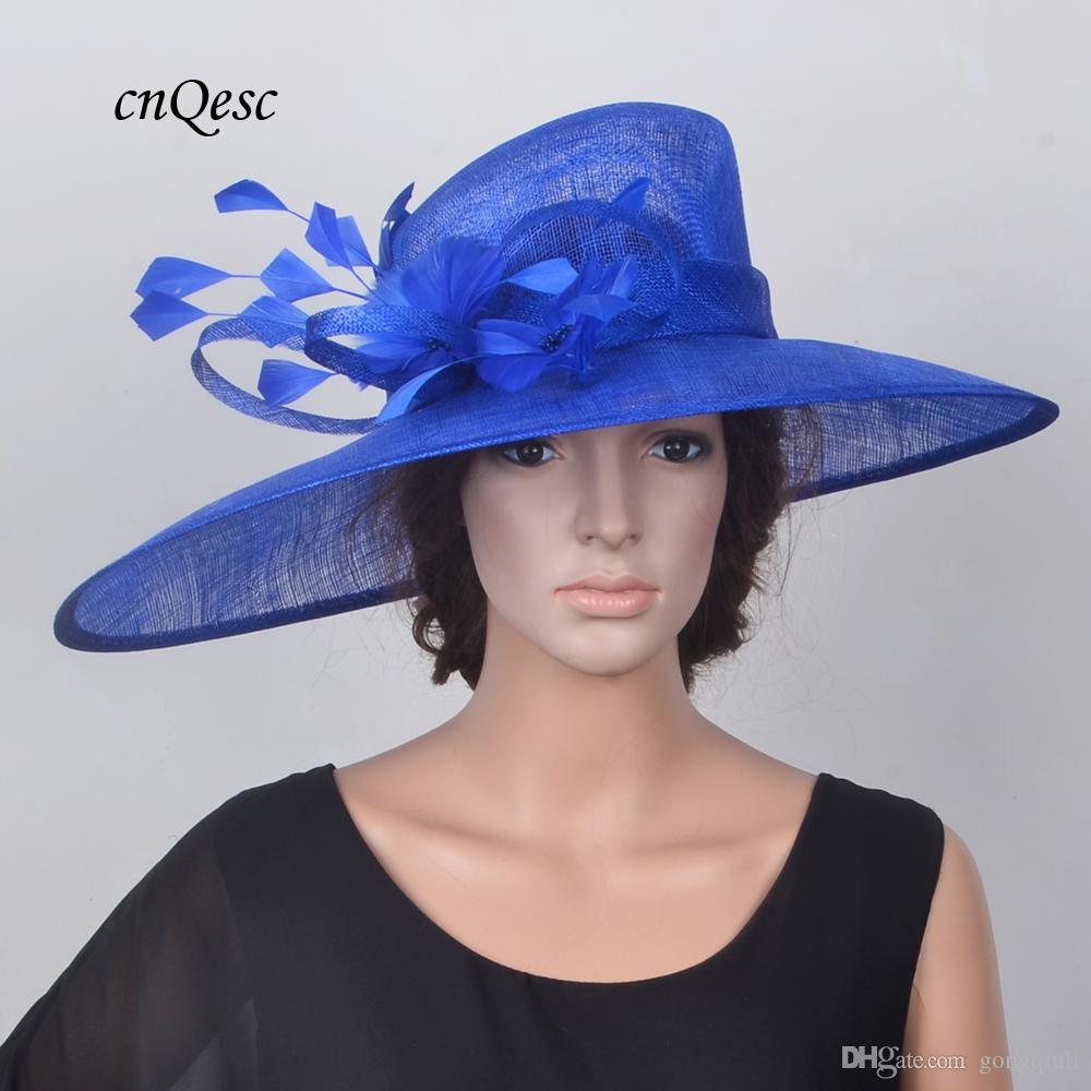 Large Chapeau Hat Sinamay Hat Church Hat Fascinator W Feather Flowers For  Wedding ae74fc33f2e