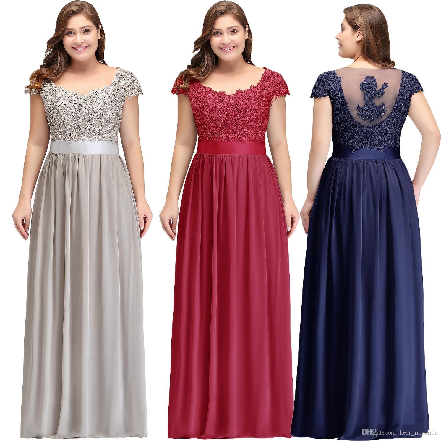 1be015a5 Tallas grandes Mangas de gasa Vestidos de dama de honor Longitud del piso  Apliques de encaje Vestidos de fiesta de noche formales Vestidos de dama de  ...
