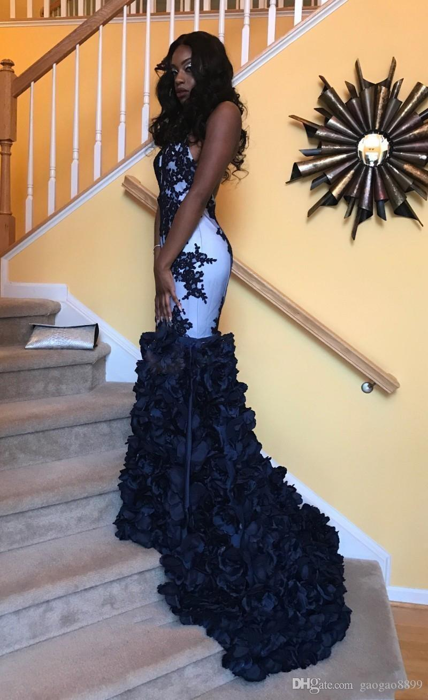 2019 Seksi Afrika Siyah Kızlar Pageant Elbiseler Parti Giyim 3D Çiçekler Mermaid Halter Keyhole Boyun Çizgisi Seksi Aç Geri Abiye giyim