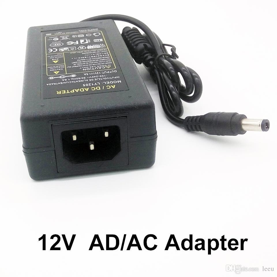 Fonte de alimentação do transformador para a luz de tira do diodo emissor de luz 5630 5050 3528 SMD 100-240V adaptador da CA / CC 12V 5A para a luz de tira do diodo emissor de luz RGB
