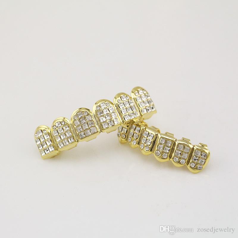 Diş Kapaklar Diş Izgaralar Kristal Kakma Üst Alt Ağız Izgaralar Altın Renk HipHop Diş Grillz Erkekler Vücut Takı