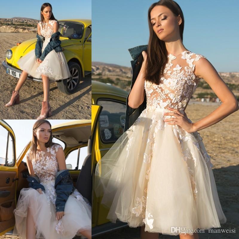 Discount 2019 Eva Lendel Short Beach Wedding Dresses Lace Appliqued