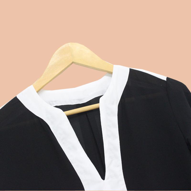 Camicette in chiffon manica lunga grande vendita le donne camicette di patchwork scollate con scollo a V profonda estate camicie casual da donna