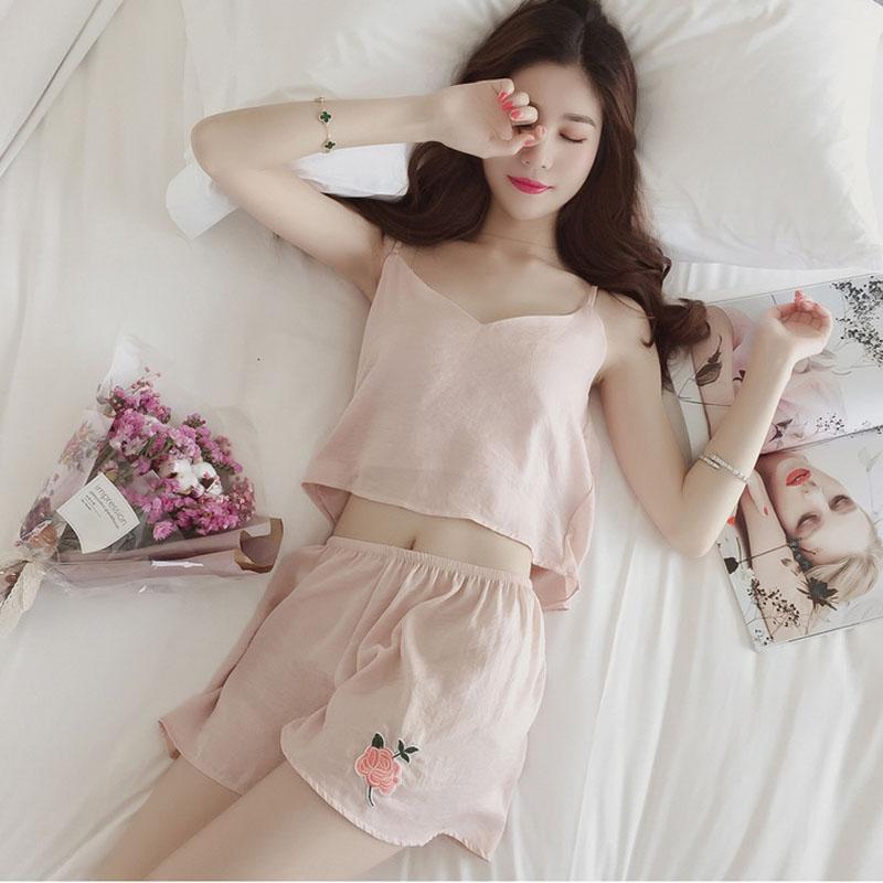 9447dafa2fda 2019 Foply Sexy Pajama Sets Women V Neck Set Cotton T Shirt Top + Shorts  Elastic Waist White Pink Black Grey Casual Pijama From Tuhua