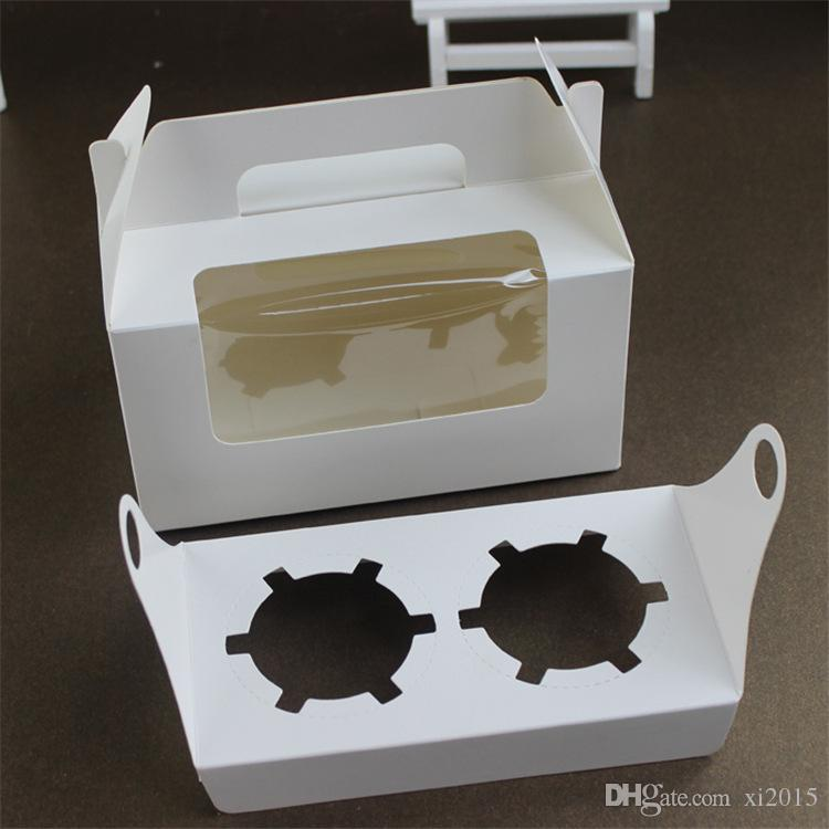 White Paperboard Party Cupcake Boxes Cake Packing Boxes with Window Portable Muffin Box wen5884