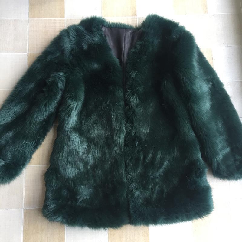 Flaumige Faux Schwarz Gemütliche Herbst Dunkelgrüner Schicke Weiß Langer Winter Frauen Mantel Rosa Neue Pelz Großhandel Jacken I76ymYfgbv