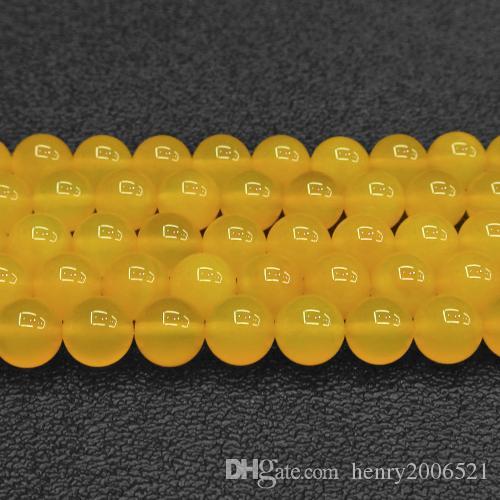 DIY yarı mamul ürünler Doğal 6mm Sarı Yeşim Yuvarlak Boncuk 15.5 inç